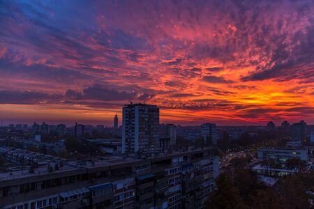 serbia: Red clouds over Belgrade, Serbia