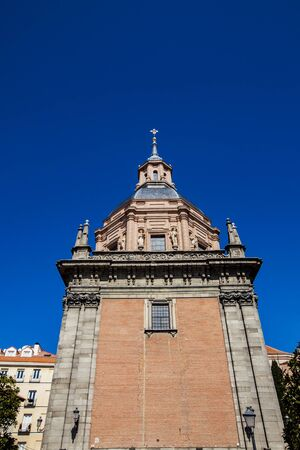 Main tower of the Iglesia de San Andres. Stock Photo