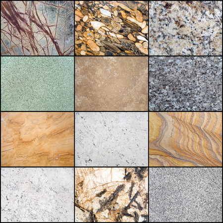 Collage of the grunge stone background, surface of the marble