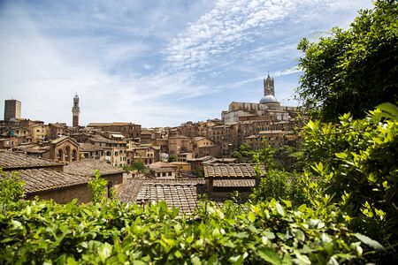 sienna: Aerial view at town Siena in Italy Stock Photo