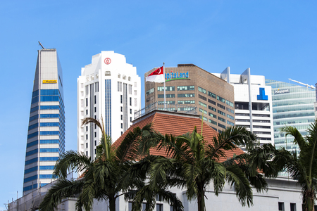 houses of parliament: SINGAPORE - AUGUST 6, 2014: Detail of Parliament building in Singapore. Building was opened at 1999 nd houses Parliament of Singapore.