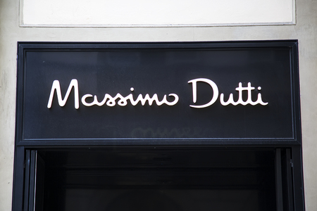 massimo: FLORENCE, ITALY - MAY 27, 2016: View at Massimo Dutti shop in Florence, Italy. It is a Spanish clothing company founded at 1985 and now have 649 stores worldwide.