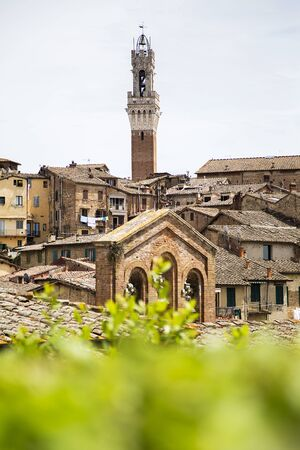 siena: Aerial view at town Siena in Italy Stock Photo