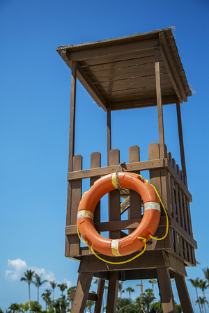 life guard stand: Observation tower on the beach Stock Photo