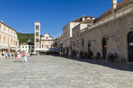 starigrad: STARI GRAD, CROATIA - JULY 1, 2014: Unidentified people in Stari Grad on Hvar island, Croatia. Stari Grad (Pharos) is the oldest town in Croatia and one of the oldest towns in Europe Editorial