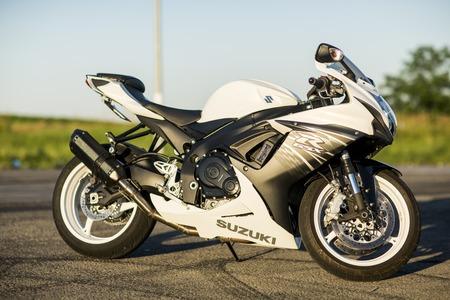 cc: NOVI SAD, SERBIA - AUGUST 6, 2016: Suzuki GSX-R600 motorcycle in Novi Sad, Serbia. Suzuki GSX-R600 is a 600 cc class supersport, sport bike in Suzuki GSX-R series of motorcycles
