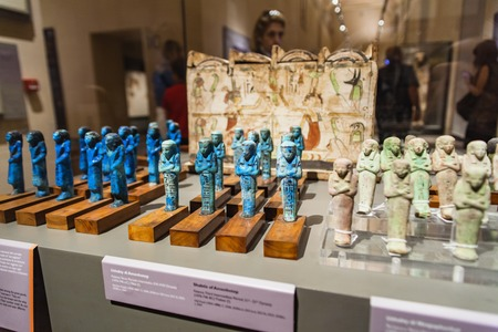 artefacts: TURIN, ITALY - JUNE 3, 2015: Detail from Museo Egizio in Turin, Italy. Mueum houses one of the largest collections of Egyptian antiquities with more than 30,000 artefacts.