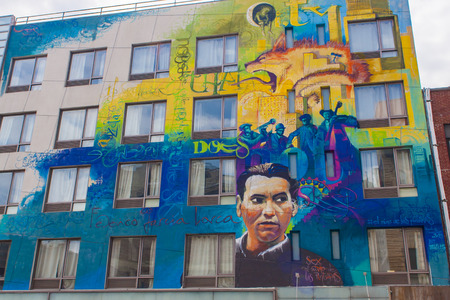 poem: NEW YORK, USA - JULY 13, 2016: Mural dedicated to poem Federico García Lorca in New York, USA. Mural was created by spanish artist Raul Ruiz.
