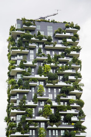 bosco: MILAN, ITALY - MAY 31, 2016: Detail of the Bosco Verticale in Milan, Italy. It is a pair of residential towers in the Porta Nuova district of Milan that host more than 900 trees. Editorial