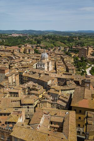 Aerial view at town Siena in Italy Stock Photo
