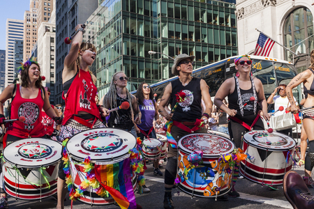 dyke: NEW YORK, USA - JUNE 25, 2016: Unidentified people at Dyke March in New York. This mostly lesbian led protest march was first held in Washington on April 24, 1993