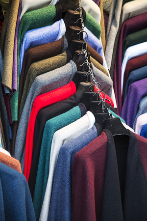 hangers: Colorful fashion jackets on hangers Stock Photo