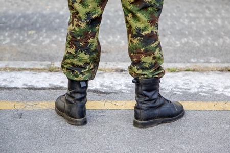 BELGRADE, SERBIA, OCTOBER 10, 2014: Unidentified soldier of Serbian Armed Forces. Soldiers are preparing for marking the 70th anniversary of Belgrade liberation in WWII.