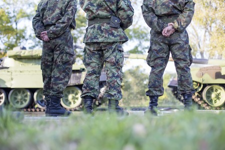 camoflauge: BELGRADE, SERBIA, OCTOBER 10, 2014: Unidentified soldiers of Serbian Armed Forces. Soldiers are preparing for marking the 70th anniversary of Belgrade liberation in WWII.