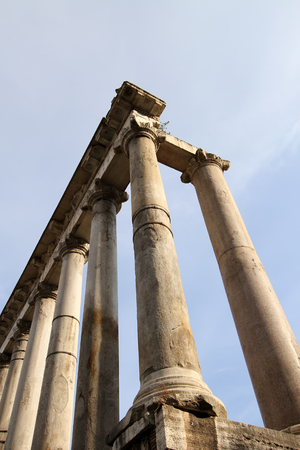 archeological: Temple of Saturn in Foro Romano, Rome, Italy Stock Photo