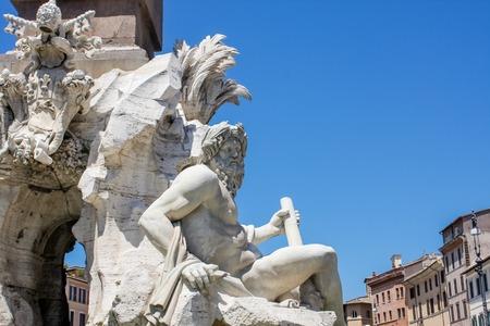 navona: Fontana dei Quattro Fiumi at Piazza Navona, Rome, Italy Stock Photo