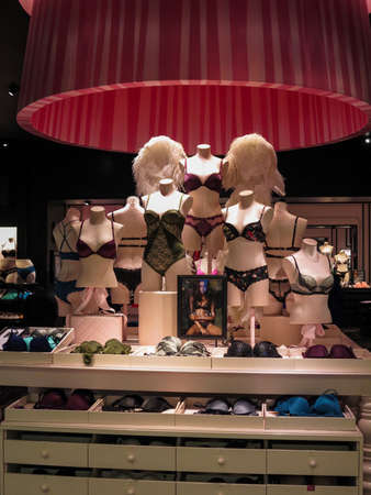 roy: ALBERTA, CANADA - SEPTEMBER 23, 2014: Detail of the Victoria Secrets store in Alberta, Canada. Victorias Secret is the largest American retailer of lingerie and was founded by Roy Raymond in 1977.