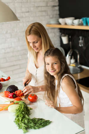 mujeres cocinando: Mother and daughter in the modern kitchen prepating food Foto de archivo