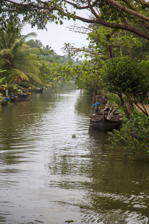 Backwaters in Kerala, India. The backwaters are an extensive network of 41 west flowing interlocking rivers, lakes and canals that center around Alleppey, Kumarakom and Punnamada. Stock Photo