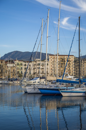 palermo   italy: Port Cala in Palermo, Italy Stock Photo