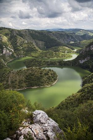 meanders: View at meanders of Uvac river in Serbia