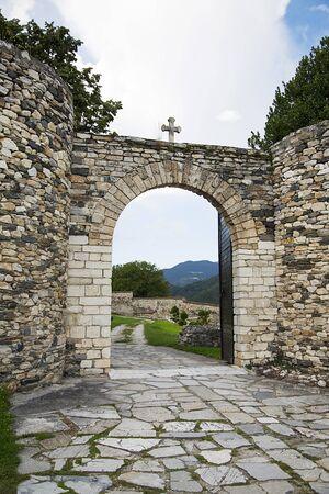 12th century: Detail of the 12th century Serbian Orthodox monastery Studenica Stock Photo