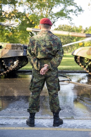 camoflauge: BELGRADE, SERBIA, OCTOBER 10, 2014: Unidentified soldier of Serbian Armed Forces. Soldiers are preparing for marking the 70th anniversary of Belgrade liberation in WWII.