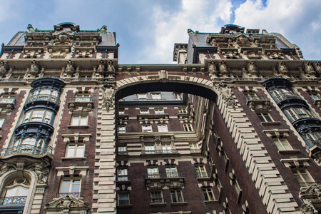 brownstone: Detail of the building in Upper West Side in New York