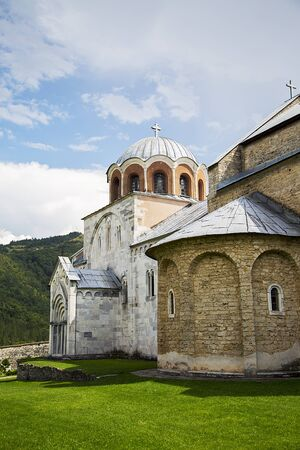 serbian: Detail of the 12th century Serbian Orthodox monastery Studenica Stock Photo