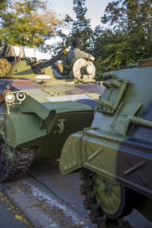 camoflauge: BELGRADE, SERBIA, OCTOBER 10, 2014: Unidentified soldiers in Infantry Fighting Vehicles of Serbian Armed Forces. Soldiers are preparing for marking the 70th anniversary of Belgrade liberation in WWII. Editorial