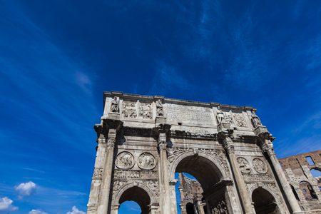 constantine: Detail of Arch of Constantine in Rome, Italy Stock Photo