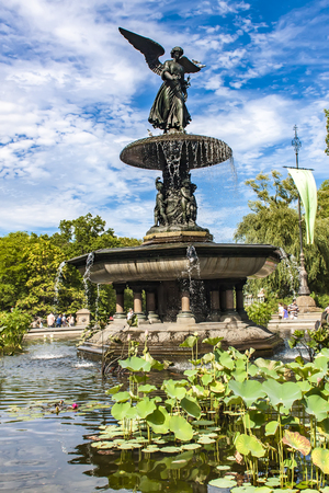 bethesda: NEW YORK, USA - AUGUST 17, 2016: View at Bethesda Fountain in Central Park in New York. Fountain and terrace were created in 1864.
