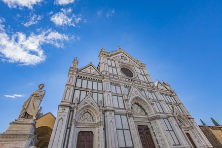 Basilica di Santa Croce (Basilica of the Holy Cross), principal Franciscan church in Florence, Italy with neo-gothic facade.