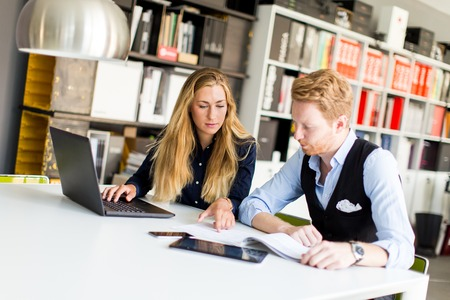Young business people are in the office and working together Stock Photo
