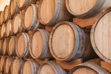 Close up view at lot of barrels in storage