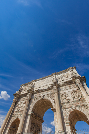 Detail of Arch of Constantine in Rome, Italy Stock Photo