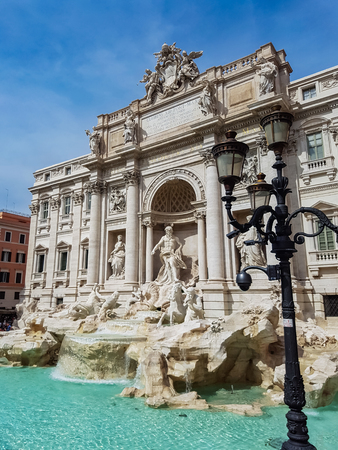 italian fountain: Trevi Fountain in Rome, Italy. Trevi Fountain is a fountain in the Trevi district in Rome, Italy, designed by Italian architect Nicola Salvi and completed by Pietro Bracci at 1762.