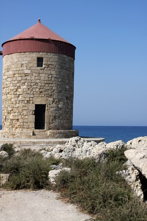 rhodes: Ancient windmill on Rhodes, Greece Stock Photo