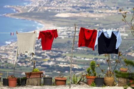 erice: Clothing line at Erice, Sicily Stock Photo