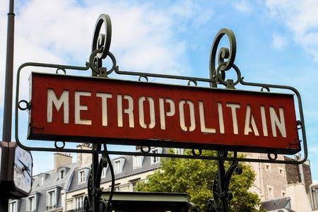 france station: Paris metro sign