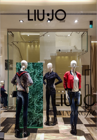 liu: FLORENCE, ITALY- SEPTEMBER 18, 2016: Liu Jo S.p.A. (stylized as LIU•JO) is an Italian fashion company founded by Marchi brothers in 1995 in Carpi (Modena), Italy.