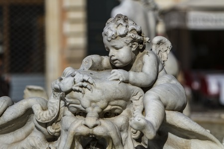 architecture monumental: Detail of Fountain of Neptune at Piazza Navona in Rome, Italy