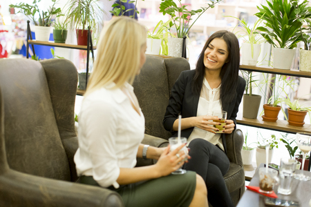 caffee: Young women in the cafe and talking Stock Photo