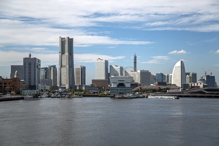 minato: Skyline of modern Minato Mirai 21 district in Yokohama, Japan Editorial