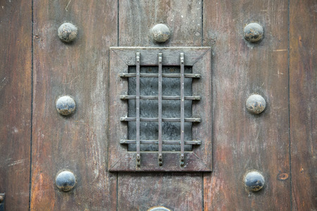 rejas de hierro: Closeup of the small window with iron bars