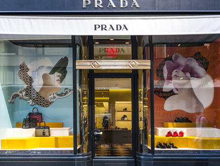 prada: NEW YORK, USA - JULY 29, 2016: View at Prada store in New York City. Prada is an Italian luxury fashion house founded in Milan by Mario Prada at 1913.