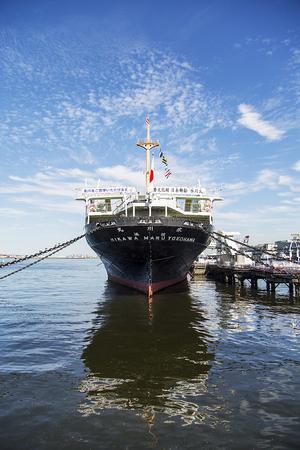 YOKOHAMA, JAPAN - OCTOBER 6, 2016: View at  Hikawa Maru ocean liner in Yokohama, Japan. This 163m length ship was launched at 1929. Editorial