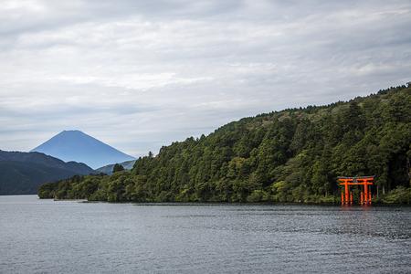 The red torii in Lake Ashi, Hakone,Japan Editorial