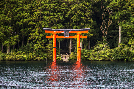 The red torii in Lake Ashi, Hakone,Japan