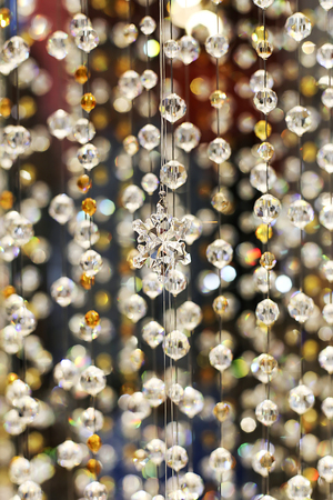 chandelier background: Crystal ornament hanging as a part of  decoration Stock Photo